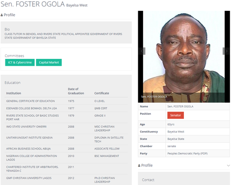 Screenshot of Foster Ogola's profile on the National Assembly website
